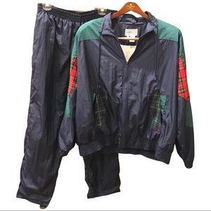 Vintage Track Suit With Plaid Patchwork Trendy